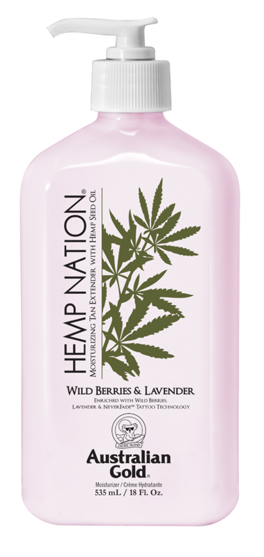 Australian Gold® Hemp Nation® Wild Berries & Lavender • 535 ml, intensīvi mitrinošs pēcsauļošanās un ikdienas ādas mitrinātājs ar tetovējumu aizsardzību