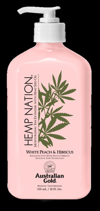 Hemp Nation WHITE PEACH & HIBISCUS 535ml, intensīvi mitrinošs pēcsauļošanās un ikdienas ādas mitrinātājs