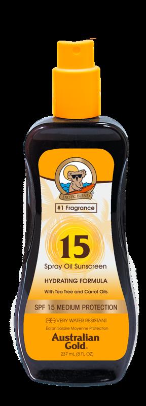 Australian Gold SPF 15 Spray Oil 237ml, sauļošanās eļļa ar aizsargfiltru