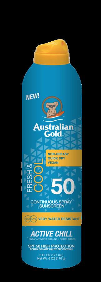 SPF 50 ACTIVE CHILL 177 ml Australian Gold Fresh & Cool līnija