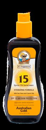 Australian Gold SPF 15 Spray Oil 237ml, sauļošanās eļļa ar aizsargfiltru UVA/UVB