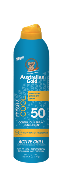 SPF 50 ACTIVE CHILL 177 ml Australian Gold Fresh & Cool līnija