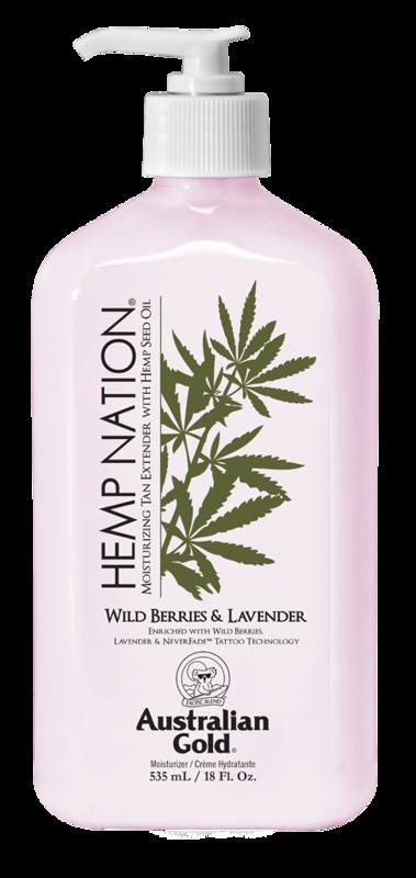 Hemp Nation® Wild Berries & Lavender • 535 ml, intensīvi mitrinošs pēcsauļošanās un ikdienas ādas mitrinātājs ar tetovējumu aizsardzību