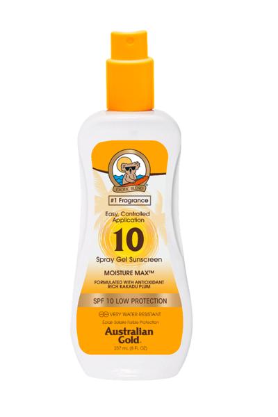Australian Gold saules aizsargkrēms SPF 10 Spray Gel 237ml saules aizsargfiltrs UVA/UVB